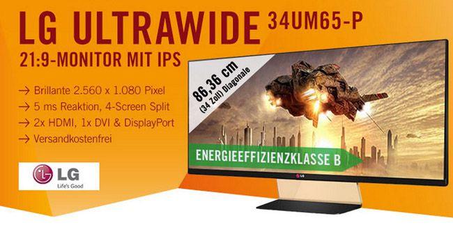 LG Flatron 34UM65 P LG Flatron 34UM65 P   34 Zoll Ultra Wide HD Cinema IPS Monitor für 395,99€