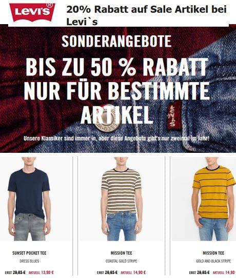 Levis1 Top! Levi's Sale mit 50% Rabatt + 20% extra Rabatt + keine VSK