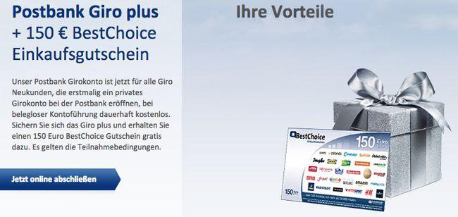 Postbank Giro plus Wichtige Info! 150€ Gutschein geschenkt für Gratis Postbank Girokonto   kein Gehalt nötig!