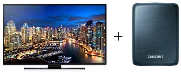 Gratis Samsung 500GB USB 3.0 Festplatte mit UHD Video Pack beim Kauf eines Samsung HU6900 Fernsehers