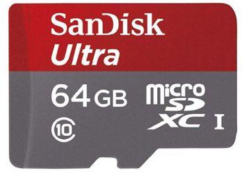 SanDisk Ultra microSDXC SanDisk Ultra microSDXC 64GB Class 10 Speicherkarte + SD Adapter für 25€
