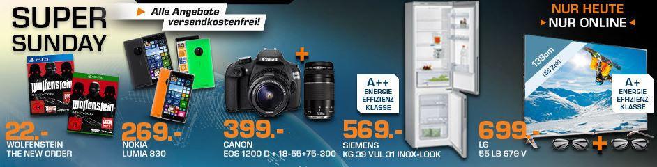 Saturn Super Sunday1  CANON EOS 1200D + 18 55mm + 75 300mm Objektiv ab 394€ und mehr Saturn Super Sunday Angebote