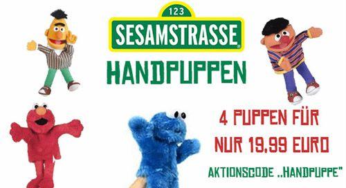 4 Sesamstraßen Handpuppen (Krümelmonster, Elmo, Bert und Ernie) für 24,94€