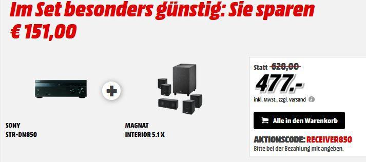 Sony STR DN850   7.2 Kanal Receiver mit 3D + Magnat Interior 5.1X Heimkinosystem ab 477€