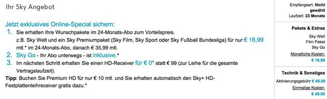 Sky Welt mit SkyGo, HD+, Receiver + 1 Paket eurer Wahl für 16,99€ monatlich   Update!