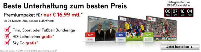 Sky Paket Sky Welt mit SkyGo, HD+, Receiver + 1 Paket eurer Wahl für 16,99€ monatlich   Update!