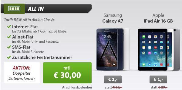 SAMSUNG Galaxy A7 Phablet  + Base All In Classic mit 1GB Daten und SMS Flat für 30€ monatl.