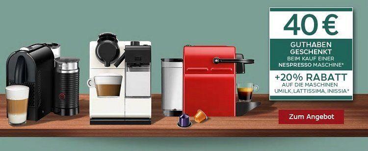 40€ Nespresso Clubguthaben beim Kauf einer Nespresso Maschine