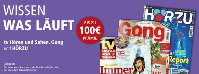 TV Magazine TV Zeitschriften im Jahresabo   z.B. Hörzu ab effektiv  3,60€ Gewinn dank Gutschein Prämie