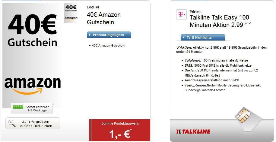 Talkund Easy Telekom Talkline Talk Easy mit 100Min. + 250MB + 3.000SMS dank 40€ Amazon Gutschein für effektiv 1,32€ monatl.   Update