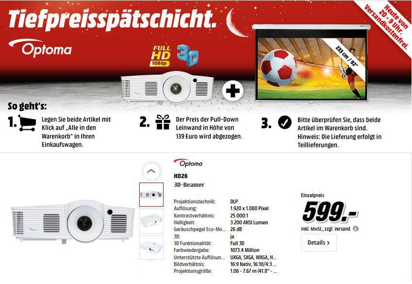 Optoma HD26 3D Beamer + Optoma Pull Down Leinwand für 599€