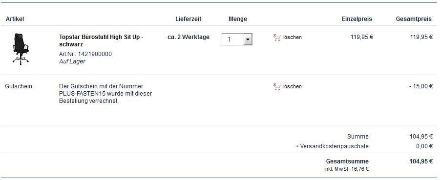 Topstar Bürostuhl High Sit Up   statt 165 für nur 104,95€   dank neuer Plus.de Gutscheine