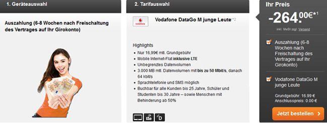 Vodafone Data Go Vodafone Data Go M mit 3GB LTE und bis zu 50 Mbit/s für 6,99€ pro Monat – junge Leute 5,99€
