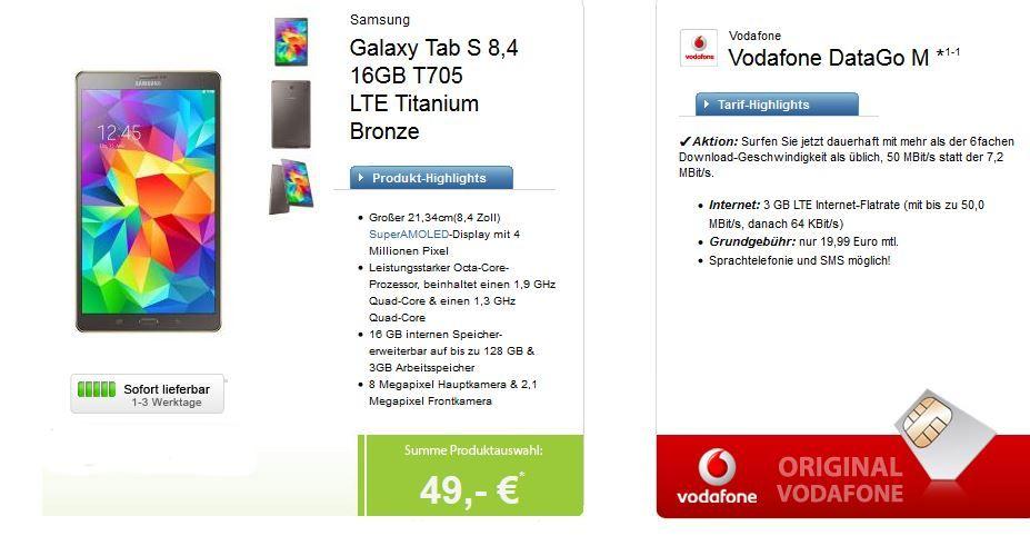 Samsung Galaxy Tab 8,4 LTE + Vodafone DataGo M mit 3GB LTE Datenflat für 17,87€ monatl.