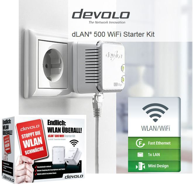 devolo Devolo dLAN 500   WiFi & Powerline Starter Kit mit 500 Mbit/s für 74,90€