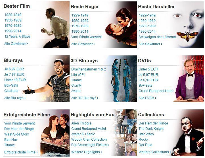 Oscar Highlights und mehr Amazon DVD oder Blu ray Angebote   Update
