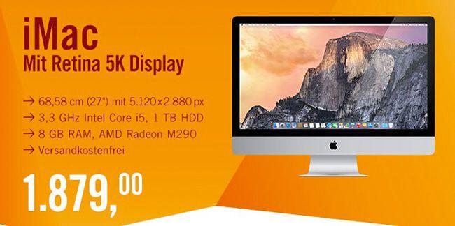 Apple iMac 27 Zoll mit Retina 5K Display   3,3 GHz, 8GB Ram, 1TB HDD für 1.879€