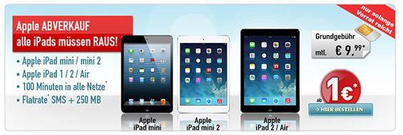 Apple iPad mini 2 16GB + Telekom 100Min. + 250MB + SMS Flat ab 10,03€ monatl.   Beeilung!