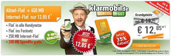 klarmobile klarmobil Allnet Spar Flat + 250MB Datenflat für 10,68€/mtl.   Update