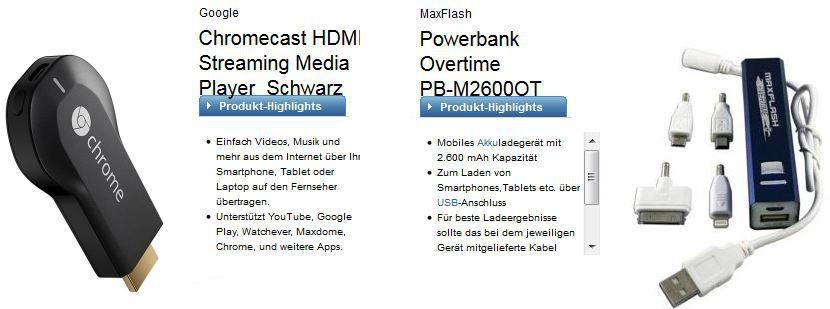 Telekom Talk Easy 100 + Chromecast oder JetFlash 64 GB USB Stick + 2600 mAh Powerbank für 2,99€ monatl.