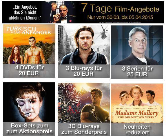 7 Tage Schaeppchen 3D Blu rays zum Sonderpreis bei den 7 Tagen Film Angeboten