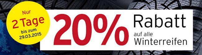 ATU Winterreifen 20% Rabatt auf alle Winterreifen bei A.T.U. + 5€ Gutschein   nur online und bis 29.3.2015
