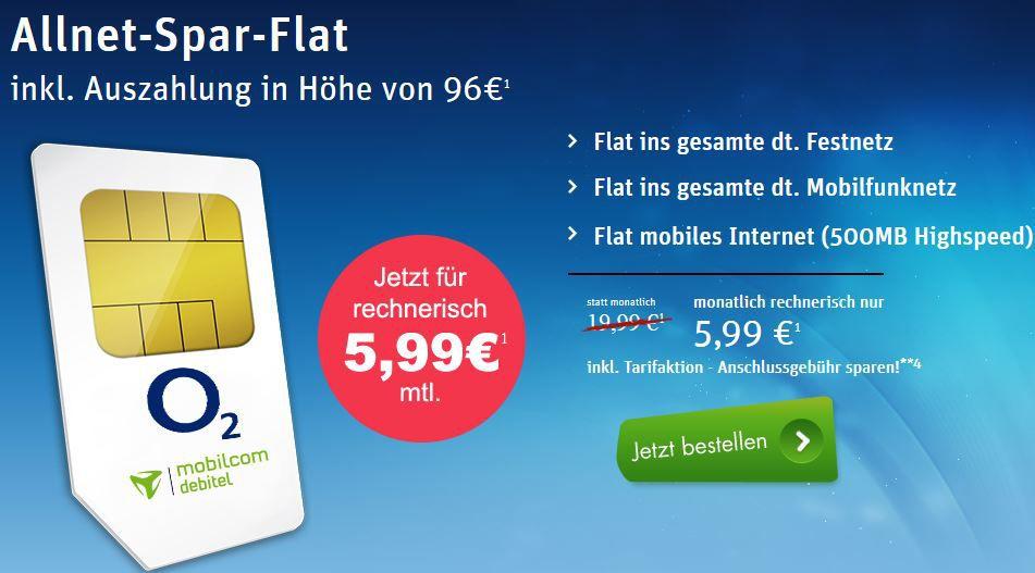 O2 Allnet Flat in alle dt. Netze + 500MB für effektiv nur 5,99€ monatl.   Update!