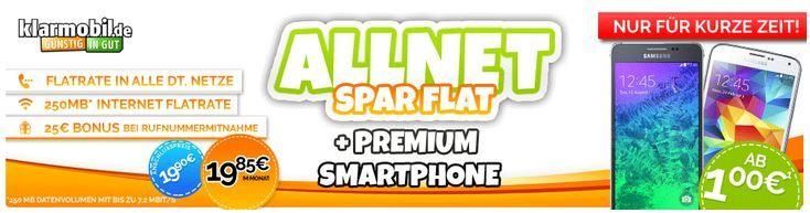 Allnet1 Vodafone Allnet Spar Flat mit 250MB + Top Smartphones für 19,85€mtl.