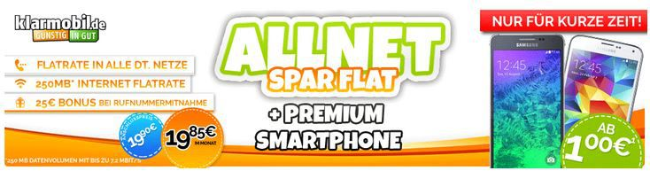 Vodafone Allnet Spar Flat mit 250MB + Top Smartphones für 19,85€mtl.