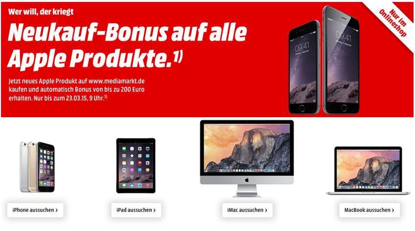 Apple Bonus iPhone 5s 16GB für 449€ bei der MediaMarkt Aktion: Neukauf Bonus auf alle Apple Produkte