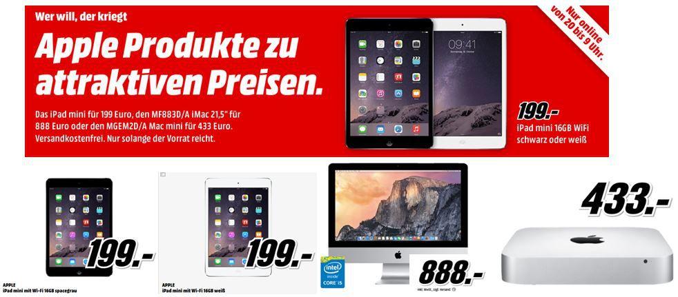 iPad mini für 199€ bei der MediaMarkt Apple Brandnight