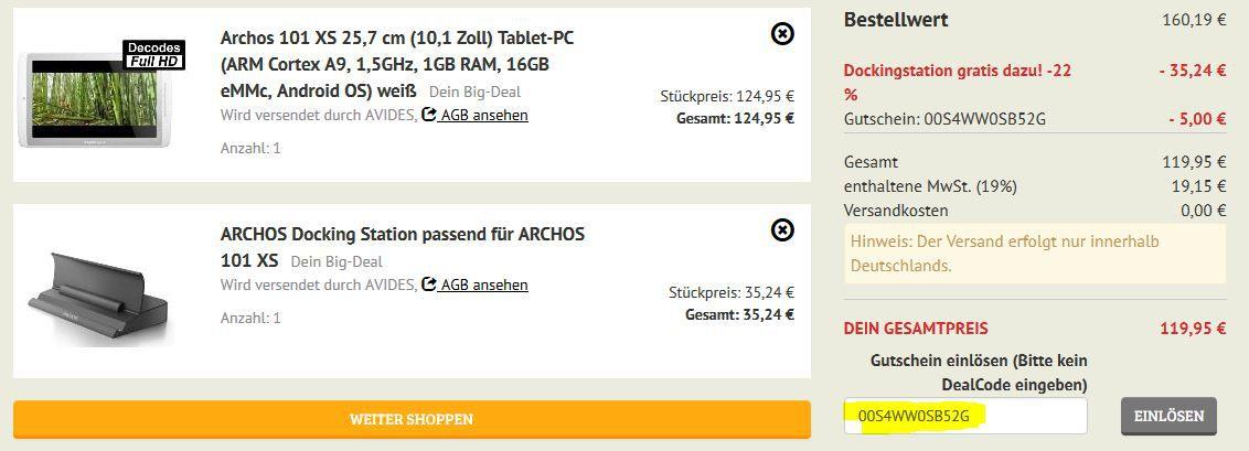 ARCHOS 101 XS Turbo   10Zoll Tablet mit 16GB + Dockingstation statt 231€ für 119,95€