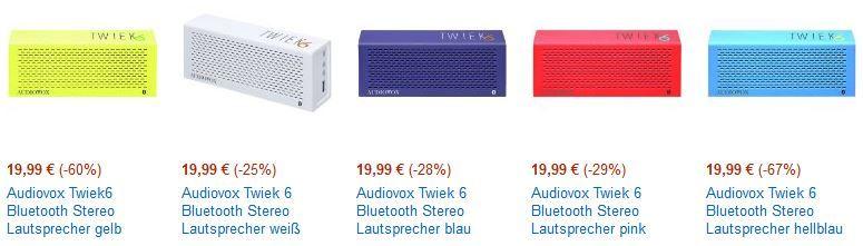 Audiovox Audiovox Twiek 6 Bluetooth Stereo Lautsprecher (verschiedene Farben) für je 19,99€   Update!
