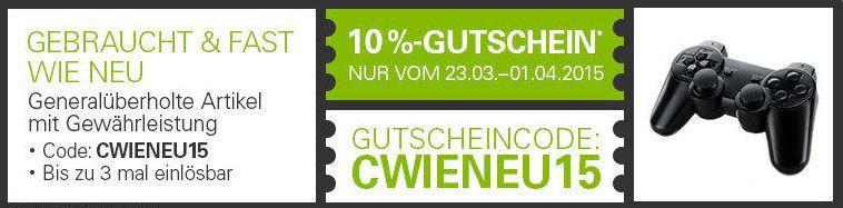 B Ware 10 % Gutschein für ausgewählte generalüberholte Ware bei ebay