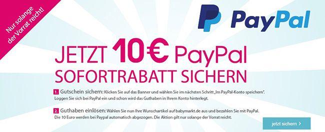10€ Baby Markt Gutschein via Paypal   kombinierbar mit 5€ Newsletter Gutschein