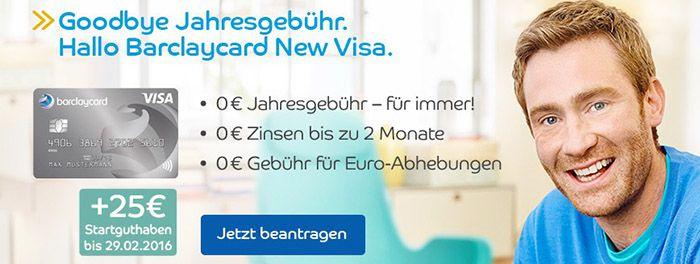 Beitragsfreie Barclaycard New Visa Kreditkarte + 25€ Startguthaben
