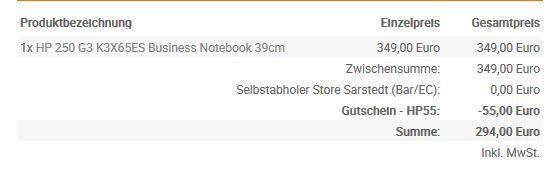 Bestellung HP 250G3  15,6 Notebook mit matten Display und i5 + 4GB/500GB ab 299€