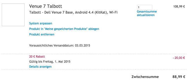 Dell Warenkorb Dell Venue 7   7 Zoll IPS Tablet (16GB, 1,6 GHz, 1GB Ram, WLAN) für 89€