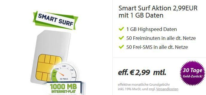 Getmobile  O² Smart Surf Vertrag mit 1GB Datenflat + 50 mins + 50 SMS für effektiv 2,99€   Update