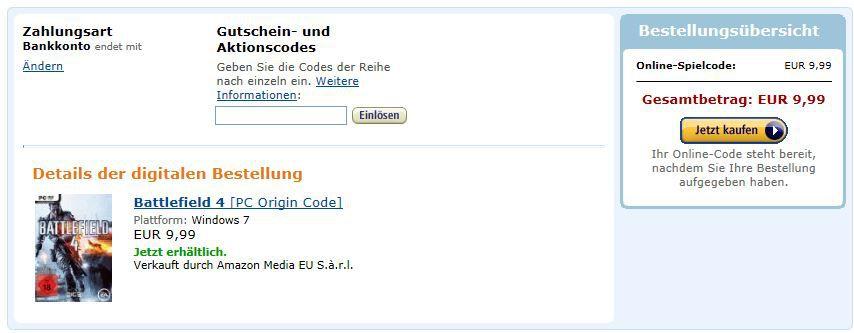 Battlefield 4   Amazon PC Origin Download Code für nur 9,99€