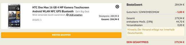 HTC One max HTC One Max silber (T Mobile Branding, 16GB, kein Simlock) für 279,94€