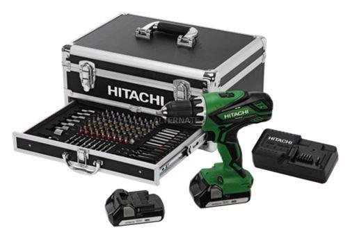 Hitachi DV 18DJL Hitachi DV 18DJL Akku Schlagbohrschrauber + 100 tlg. Bit Set + Koffer für 199,90€