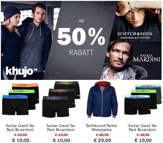 Khujo, Scotch & Soda und Patria Mardini mit 50% bis 75% Rabatt auf alle Artikel bei den Hoodboyz