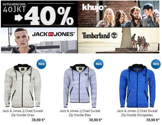 Jack & Jones, Khujo und Timberland mit 40% Rabatt auch auf Sale Ware bei den Hoodboyz   Update
