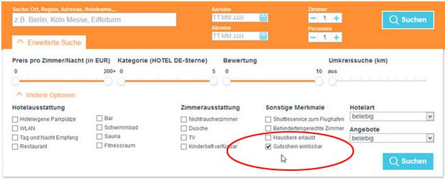 Hotel Suche