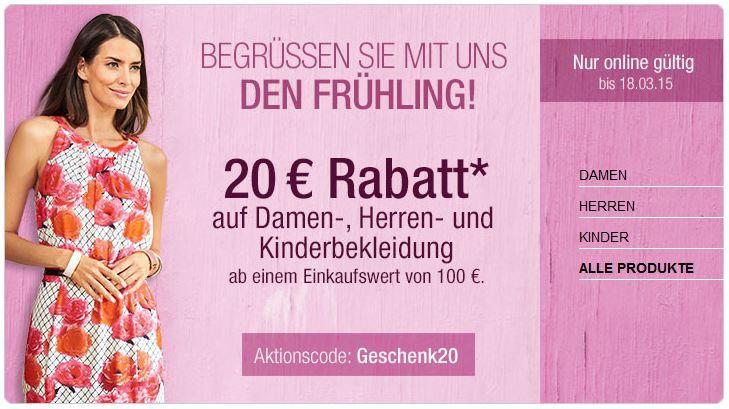 Galeria Kaufhof mit 20€ Rabatt auf (fast) alle Damen, Herren und Kinderbekleidung ab 100€