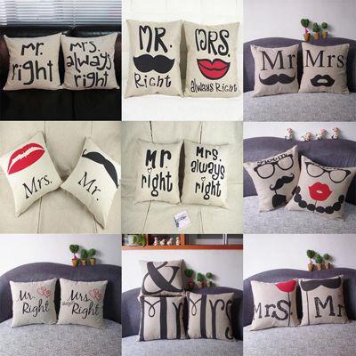 Kissenbezüge Mr. uns Mrs. Kissenbezüge 42 x 42 cm ab je 2,60€   China Gadget!