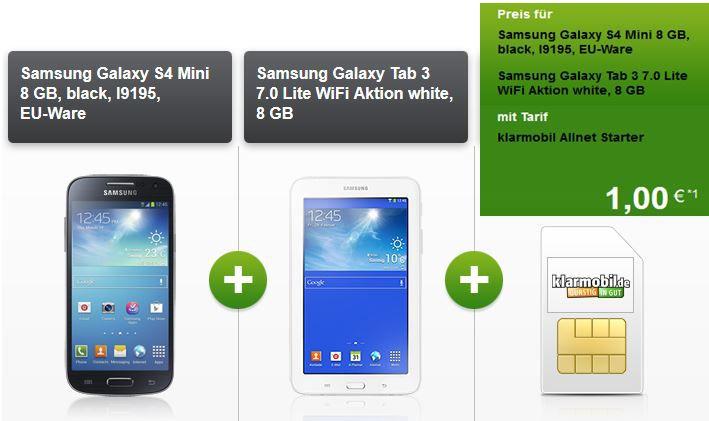 Klarmobil Samsung Galaxy S4 Mini + Samsung Tab 3 7.0 Lite WiFi mit Vodafone 100Min/SMS + 400MB Daten für mtl. 10,40€