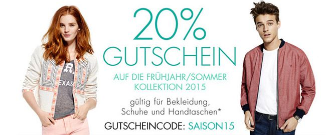 Kleidung Rabatt Amazon 20% Extra Rabatt auf die Frühjahr/Sommer Kollektion 2015 bei Amazon