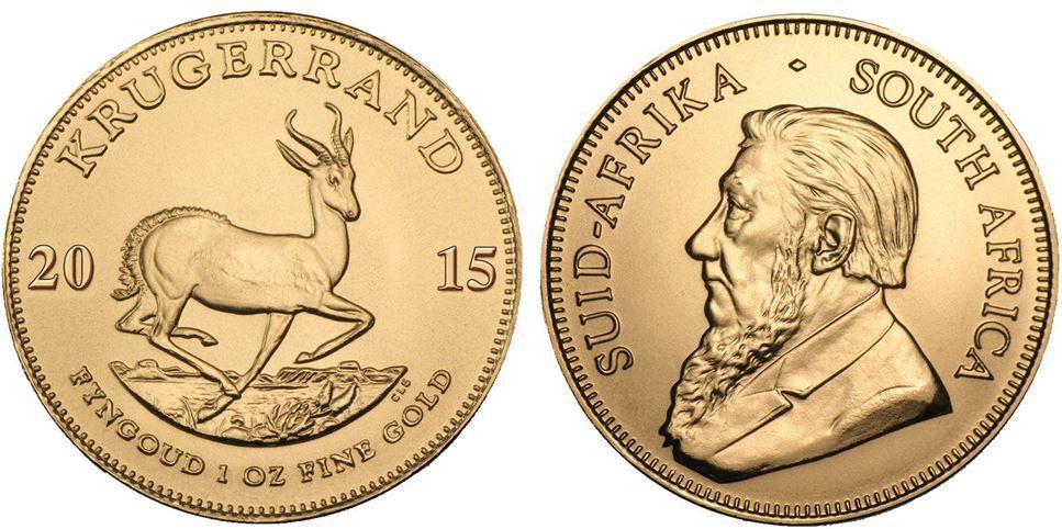 Krügerrand   1 Unzen Goldmünze aus dem Jahrgang 2015 für 1.100€